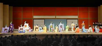祇園小唄を舞う五花街の舞妓たち(2019年6月29日、京都市東山区・南座)