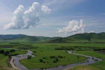 緑豊かな真夏のウラン・モド草原 内モンゴル自治区