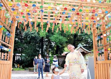 川越氷川神社、江戸風鈴を一般公開 規模縮小で320個チリン コロナで「縁むすび風鈴」見送り