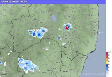 2日午後5時5分の雨雲の様子(高解像度ナウキャスト)出典=気象庁ホームページ