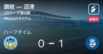 【速報中】讃岐vs沼津は、沼津が1点リードで前半を折り返す