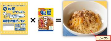 松屋、ケンミン食品/牛丼やカレーをかける「味付け焼ビーフン」