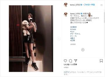 板野友美、超ミニボトムで美脚を披露!愛犬のお散歩コーデに「スタイル良すぎる」