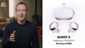 ゴーグル型端末「オキュラス・クエスト2」を披露する米フェイスブックのザッカーバーグCEO(同社提供・共同)