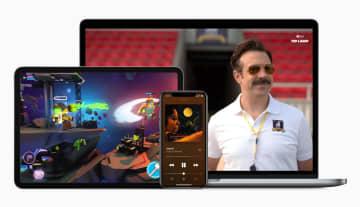 米アップルの音楽や動画、ゲームのサービス画面(同社提供・共同)
