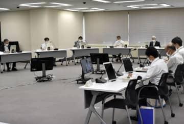 四国電力伊方原発の乾式貯蔵施設の新設計画を認める審査書を決定した原子力規制委員会の定例会合=16日午前、東京・六本木