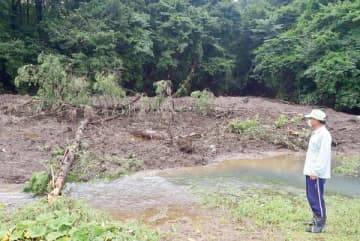 土砂が大規模に崩落して蒔田川に流入した現場=7月28日午前10時25分ごろ、秩父市田村