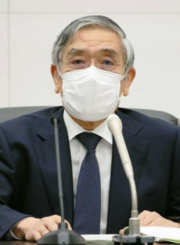 金融政策決定会合を終え、記者会見する日銀の黒田総裁=17日午後、日銀本店(代表撮影)