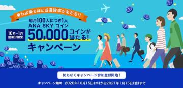 ANA、国内線利用で5万円分のスカイコインプレゼント 抽選で100人に1人 画像