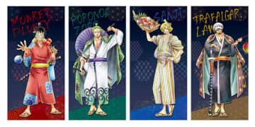 「ワンピース」ワノ国姿のルフィ、ゾロ、サンジ、ローと秋祭り! 洗えるマスク、タオルなど実用性◎なグッズ登場