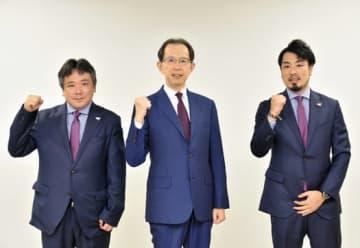 開幕に向け知事に抱負 ボンズの宮田社長と森山HC