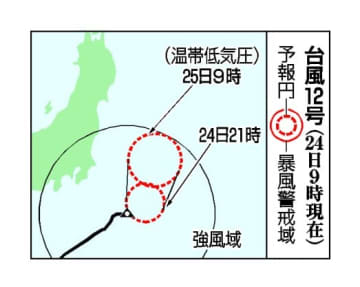 台風12号、房総沖を北上へ 25日には温帯低気圧に 画像