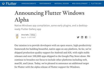 Google、FlutterにおけるWindowsサポートのアルファリリース発表