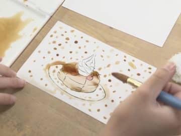 コーヒー淹れた後の『カス』を絵の具に…コメダ珈琲が小学校で出張授業 環境への取り組みなど紹介