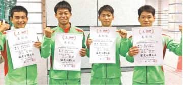 男子400メートルリレーで4位入賞した宮崎工メンバー(チーム提供)