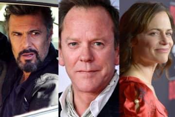 「24」シーズン1に登場していたキャストたち -左からカルロス・バーナード、キーファー・サザーランド、サラ・クラーク - FOX Image Collection via Getty Images /