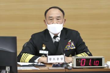 軽空母の導入目標について、国会の国防委員会に報告する韓国海軍の参謀総長=15日、韓国・鶏竜(韓国海軍提供・共同)