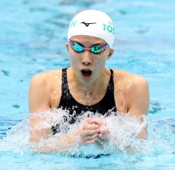 女子200メートル個人メドレー決勝 2分5秒09の短水路日本新記録で優勝した大橋悠依の平泳ぎ=東京辰巳国際水泳場(代表撮影)