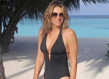 Elizabeth Hurley, 55, Stuns In V-Cut Swimsuit