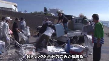 川をきれいに 内水面漁協が小型船舶で大淀川河川清掃 宮崎市