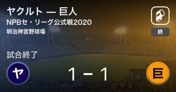 【NPBセ・リーグ公式戦ペナントレース】ヤクルトが巨人と引き分ける