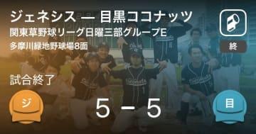 【関東草野球リーグ日曜三部グループE】ジェネシスが目黒ココナッツと引き分ける