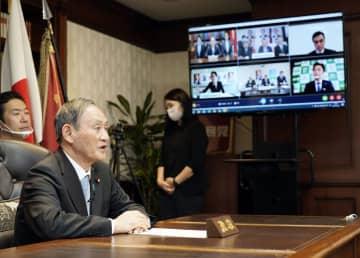 菅首相「コロナ対策優先」と強調 地方組織とリモート対話 画像