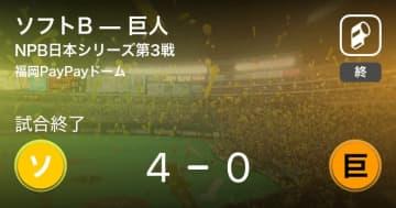 【NPB日本シリーズ第3戦】ソフトBが巨人を破る