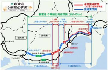 新東名/御殿場JCT~浜松いなさJCT間の6車線化が12月完了