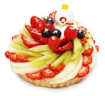 カフェコムサ、お正月限定「いちごと洋梨のケーキ」を発売 - 鏡餅などイメージ