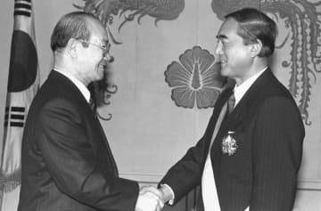 <あのころ>初の日韓首脳会談