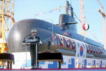 2020年11月、韓国・巨済で開かれた韓国軍の潜水艦の進水式(聯合=共同)