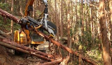 島の森再生協議会の事業で五島森林組合にリースされた重機「ハーベスタ」。ヒノキを次々と伐倒して枝を取り除き、裁断していった=新上五島町岩瀬浦郷