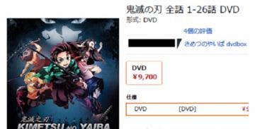 大手通販サイトに出品されていた「鬼滅の刃」の海賊版DVDの紹介画面。正規品と比べ不自然に安い値段で販売されていた(茨城県警提供)
