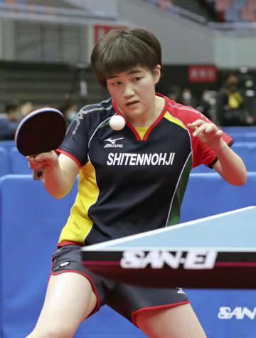 ジュニアの部女子シングルスで2連覇を果たした大藤沙月=丸善インテックアリーナ大阪
