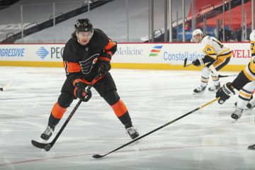 Sean Couturier injured, but Travis Konecny's first career hat trick, Carter Hart's goaltending lift Flyers over Penguins, 5-2