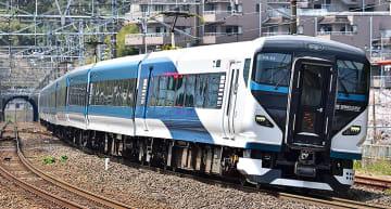 東海道線 JR東海エリアにJR東日本 E257系の姿、越境特急の新作にあわせて