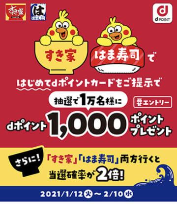 すき家、はま寿司 dポイントキャンペーン、初めてのポイントカード提示で当たる