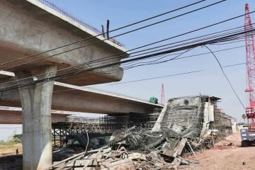 Elevated section of Korat ring road collapses, 10 hurt