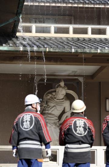 文化財防火デー、法隆寺で訓練