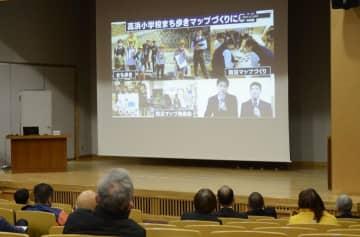 松山工業高の生徒らが防災活動を発表した報告会