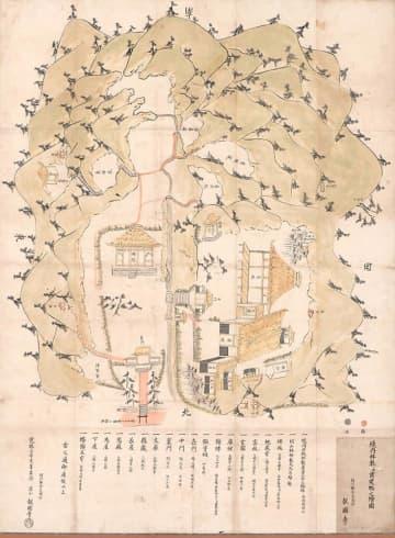 紙本淡彩 報国寺境内絵図=市教委提供