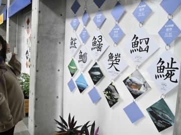 ユニークな創作漢字が並ぶ会場=各務原市川島笠田町、世界淡水魚園水族館アクア・トトぎふ