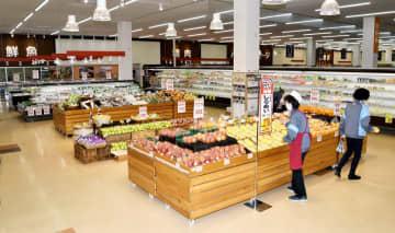 2021年夏にマックスバリュの県内初店舗が入る予定の「みつわ九頭龍店」の生鮮食品売り場=4月5日、福井県大野市南新在家