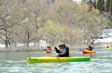 「水没林カヌー」を体験する参加者=飯豊町・白川湖