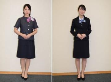 【発表された三十三銀行の夏服(左)と冬服(右)】