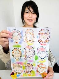 仕上がった絵を手にする川上奈々さん。人柄も投影した優しいタッチが特徴=神戸市垂水区