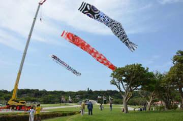 重機で掲げたこいのぼり。吹き流しには「コロナに負けるな!元気な沖縄の子」とメッセージが込められている=3日、沖縄県糸満市の平和祈念公園