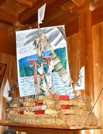 桜井綱敷天満宮の1100年記念祭で奉納されたわら舟