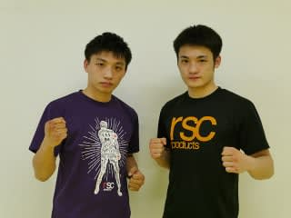 公開練習に臨んだ兄・大﨑一貴(左)と弟・孔稀(右)(C)RISE